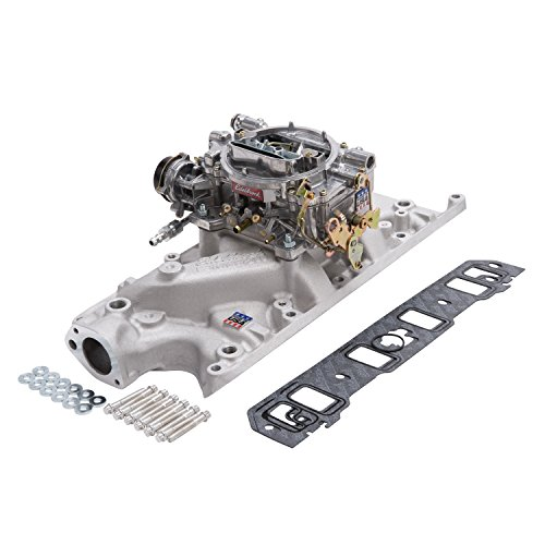 Edelbrock 2031 Single-Quad Manifold And Carb Kit Performer Manifold w/600cfm Performer Series Carb Incl. Carb/Fuel Line/Intake Bolts/Gaskets Natural Finish For Small Block Ford Single-Quad Manifold And Carb Kit by Edelbrock (Image #1)