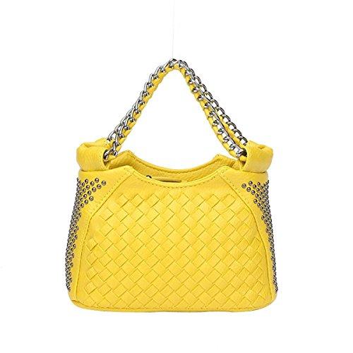 Style à Glissière Sac Tissé De Fermeture Mini Bandoulière sac à Mode Femmes yellow Rivets Sac nH5Fw7EOHx