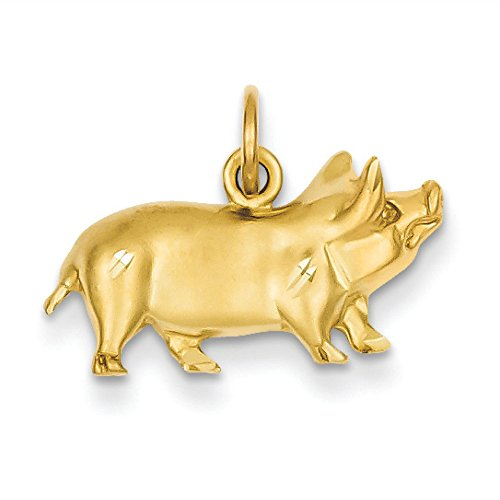 14K Yellow Gold Pig Charm Pendant (Pig Yellow Gold 14k)