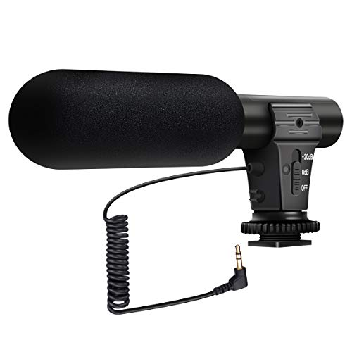 Camera Microphone, EIVOTOR MIC-05 3.5mm Digital Video Recording Microphone for D-SLR Camera, Black