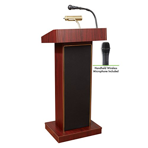 Oklahoma Sound 800X-MY/LWM-5 Orator Lectern and Handheld Mic, Mahogany