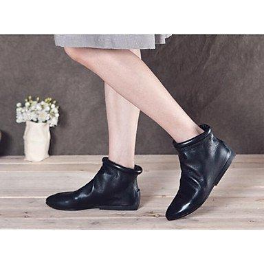 La mujer Confort Botas de cuero cuero Nappa confort informal de resorte plano negro Black
