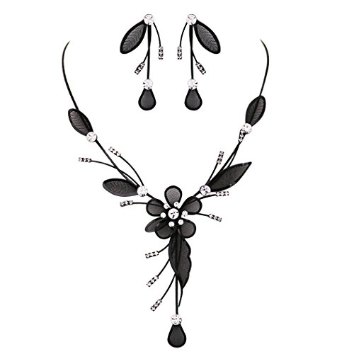 (Rosemarie Collections Women's Stunning Floral Statement Dangling Necklace and Earring Set (Black))