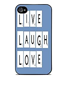 Live Love Laugh in Popular Game Letters Black Hardshell Case for iPhone 4 / 4S