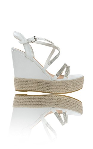 Ikrush Womens Sorsha Diamante Braided Wedged Heel White N4GtJtSz