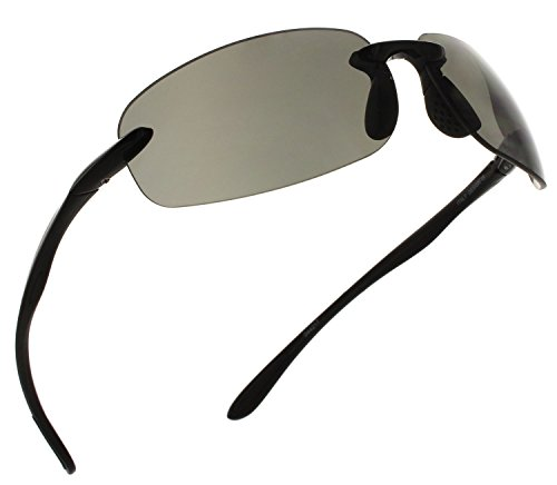 Fiore Island Sol Polarized Sunglasses Rimless TR90 for Men and Women [Black - ()
