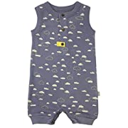 Finn + Emma One-Piece Organic Cotton Romper for Baby Boy or Girl - Cloudy Sky, 0-3 Months