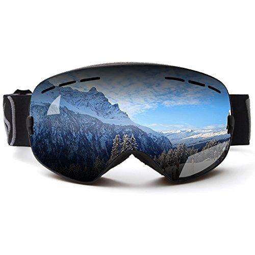 Ski Goggles, Zuanshiyan Double lens Spherical Wide Vision UV Protection Anti-fog Snowboard Ski Glasses For - Round For Best Shape Eyeglass Face
