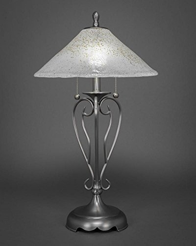 2-Light Table Lamp with Gold Ice Shade