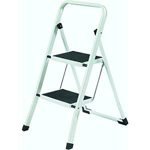 YBM Home Folding Lightweight Step Ladder, Step Stool, 2-steps White and Black #1123