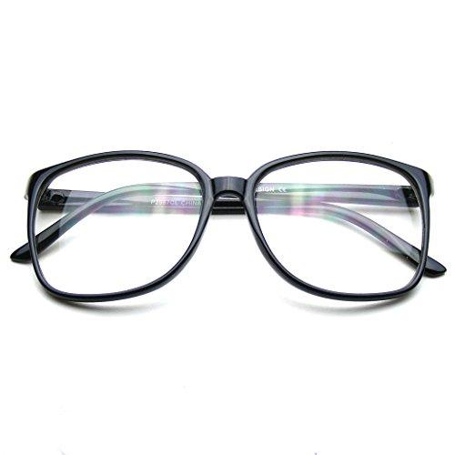 Large Oversized Glasses Clear Lens Thin Frame Nerd Glasses - Glasses Big Nerd Black