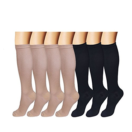 15mm Compression Sock (Mens/Womens Knee-High Graduated Compression Socks (7 Pack) - 15-20 mm Hg - Breathable - Prevent Fatigue/Swelling (S/M, Assort4))