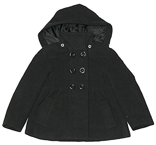 (Rothschild Girls Black Baby Doll Faux Wool Peacoat (6X))