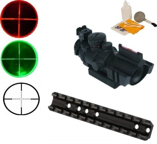 Ultimate Arms Gear Tactical Marlin Rifle Deluxe Weaver Picatinny Rail Scope Sight Mount + Tactical 4x32 Red/Green P4 Rangefinder Reticle Scope With Top Fiber Optic Sight - Includes Lithium Battery (Deluxe Tactical Laser Sight)