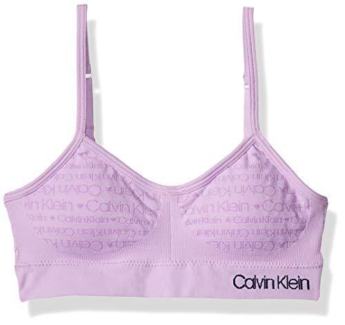 Calvin Klein Girls' Seamless Wirefree Comfort Bralette Bra, Soft Crop - Lilac, Small - 6/6X