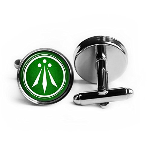 Celtic Symbol - The Awen - Three Rays of Light - White on Green Rhodium Plated Silver Cufflinks