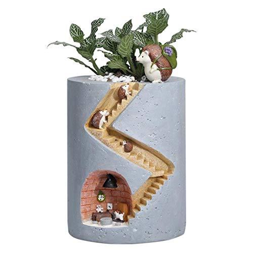 Artificial Plants - Flowerpot Fleshy Hedgehog House Micro Landscape Resin Home Desk Decoration Office Pen Holder - Small Spring Garland Terrarium Gold Panel Blue Lavender Planter Banana Blossom O