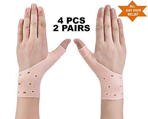 Zigora Gel Thumb Wrist Brace Support - Wrist Thumb Stabilizer Gloves, Fast Relief from Carpal Tunnel, Rheumatism, Tenosynovitis, Tendonitis & Typing Pain, (2 Pair/4Pcs) Breathable and Lightweight