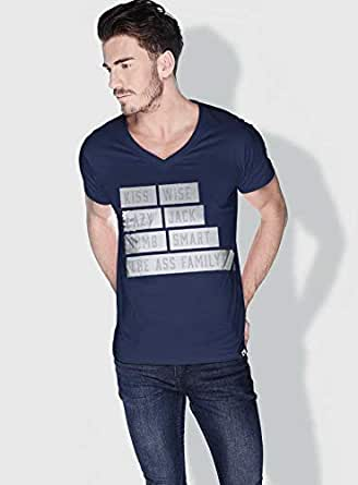 Creo Kiss Funny T-Shirts For Men - S, Blue