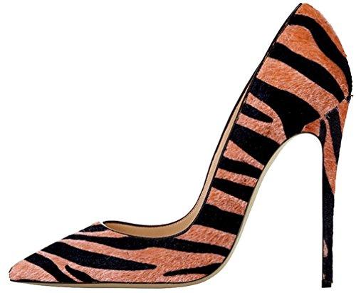 Calaier Damen Camuseum 12CM Stiletto Schlüpfen Pumps Schuhe Mehrfarbig