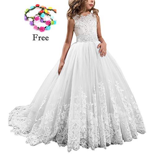 Lilac Long Girls Pageant Dresses Kids Prom Puffy Tulle Ball Gown 26 ()