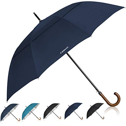 Plain Curved Handle - ZEKAR Wooden J-Handle Umbrella, 54/62 / 68 inch, UV & Classic Versions, Large Windproof Stick Umbrella, Auto Open for Men and Women Golf Umbrella