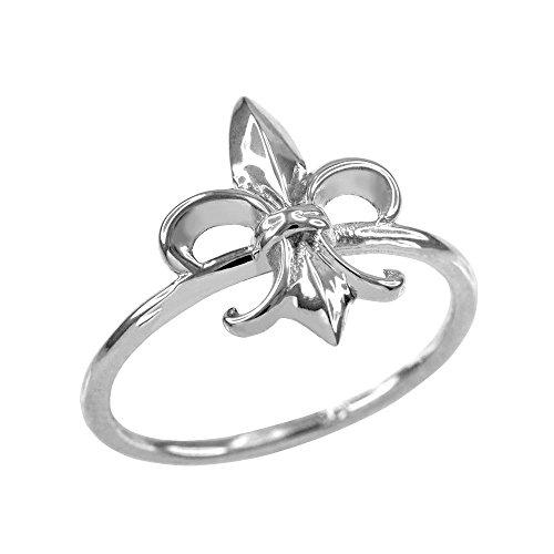 Dainty 10k White Gold Fleur-de-Lis Ring (Size 11.5)