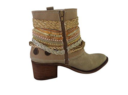 Stiefeletten Stiefel Sneaker Trachten Schuhe Damen Lederoptik Beige … (38)