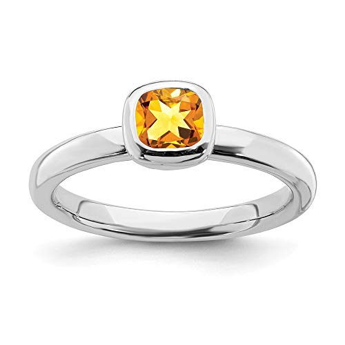 925 Sterling Silver Cushion Cut Yellow Citrine Band Ring Size 8.00 Stone Stackable Gemstone Birthstone November Fine Jewelry Gifts For Women For Her