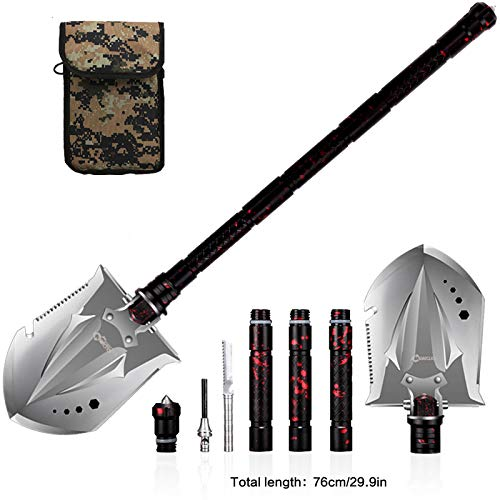ANTARCTICA Military Portable Folding Shovel Multitool Compact Backpacking Tactical Entrenching Tool for Hunting, Camping(Red) by ANTARCTICA (Image #5)