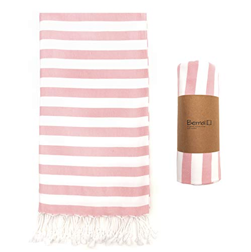 (Bemal Turkish Beach Towel | Oversized 40''x70'' | Quick Dry & Compact for Travel | 100% Cotton | Suitable for Backpacking, Camping, Gym, Yoga, Pool (Pink))
