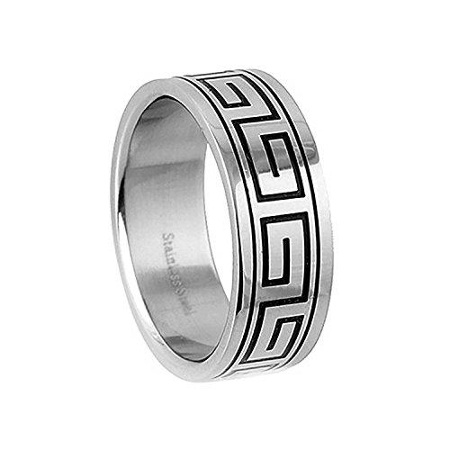 Greek Design Ring - JewelryVolt SR-460 Stainless Steel Ring316L Stainless Steel Greek Key Design Ring (15)