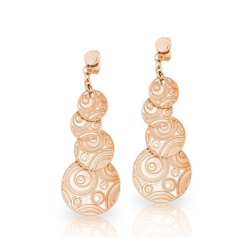 Swirl Motion Rose Gold Plated Cascading Circle Drop Earrings