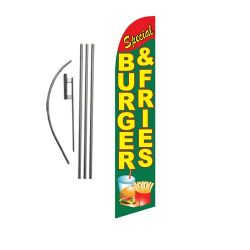 Burgers and Fries Restaurant Feather Banner Swooper Flag Set with 15 Foot Flag Pole Kit and Ground Stake