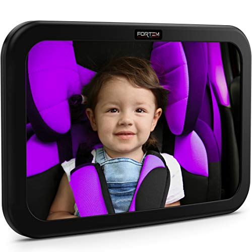 Baby Car Mirror by FORTEM | Rear View Backseat Mirror for Babies and Toddlers | Wide Angle w/Shatterproof Glass |...