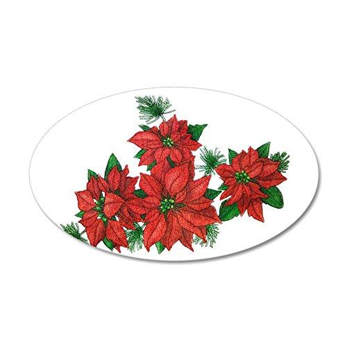 35x21 Oval Wall Vinyl Sticker Christmas Poinsettias