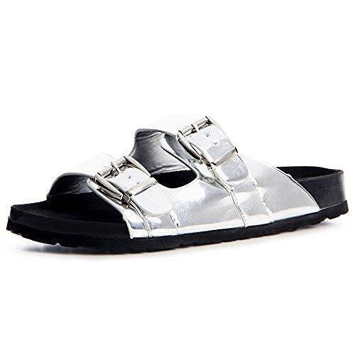Damen Pantoletten Metallic Sandalen Riemchen Plateau 1202 Silber