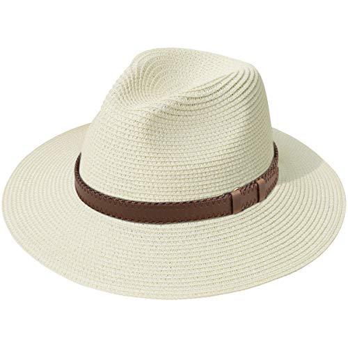 (Lanzom Women Wide Brim Straw Panama Roll up Hat Fedora Beach Sun Hat UPF50+ (X Belt-Beige))