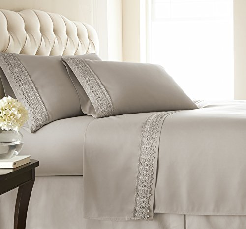 Southshore Fine Linens - Vilano Lace - 4 Piece - Extra Deep Pocket Sheet Set , QUEEN , BONE - Extra Fine Linen