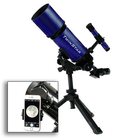 AstroVenture Blue Portable 80mm Refractor Telescope With Universal Smartphone Camera Adapter by Twin Star