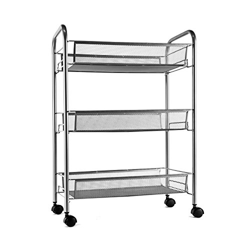 YIMU 3 Tier Mesh Wire Rolling File Cart Multifunction Utility Cart Kitchen Storage Cart on Wheels, Silver 3 Tier File