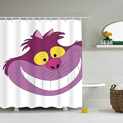 (Enjoytm Cheshire Cat Shower Curtain, Extra Long Bath Decorations with Hooks Marriage Gifts for Men and Women Polyester Fabric 72 x)