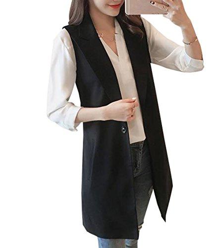 遺体安置所置くためにパック咽頭雲の花 女性の黒ベストのジャケットと長いセクションスリムベストのファッションのチョッキ