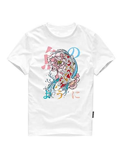 ITALY MORN Men Short Sleeve O Neck Graphic T-Shirts L W-Gold Fish (Shirt White Dragon Gold)