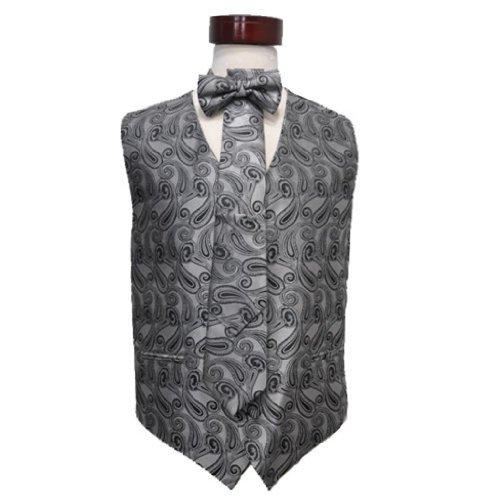 - Covona Men's Vest Set Charcoal Grey Paisley /Woven Pattern