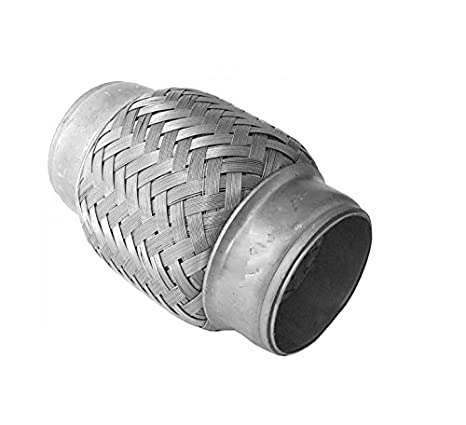 Stainless Steel Flexible Exhaust Pipe Connector 50mm x 230mm Heavy Duty Weld In Coupler Flexi Pipe Tube Adapter Sleeve Joint 50mm x 230mm