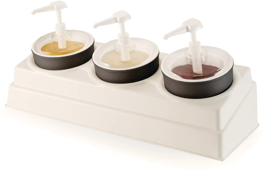 Carlisle CM105802 Coldmaster 3-Crock Coldcrock Organizer Condiment Set, 6.97'' Height, 10.50'' Width, 26.49'' Length, ABS, White