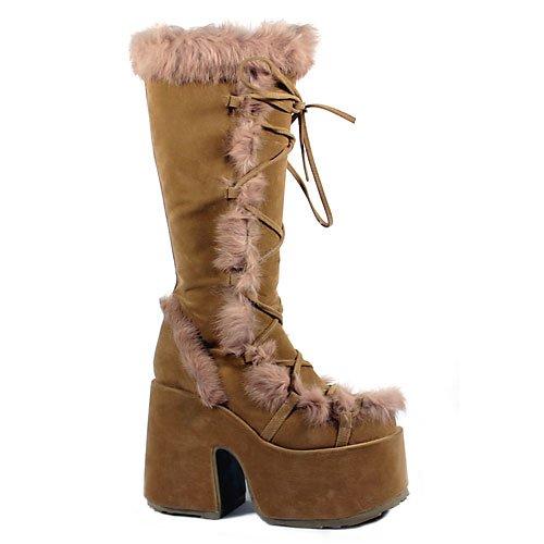 5 Inch Sexy Knee Hi Boot Theatre Costumes Camel Veg Suede Demonia Size: 7 Demonia Fur Boots