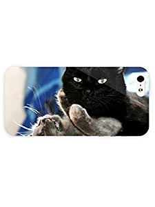 3d Full Wrap Case for iPhone 5/5s Animal Black And Grey Cat