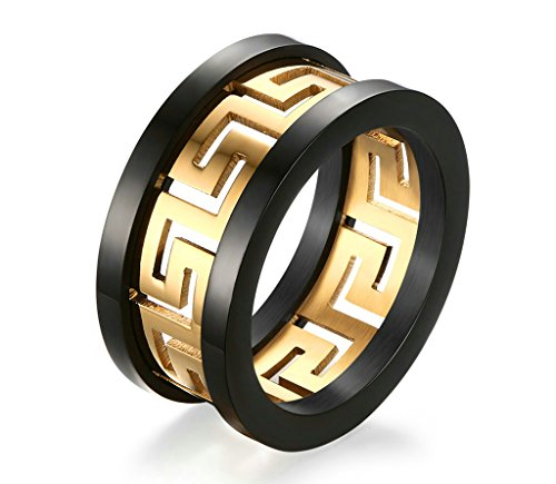 ANAZOZ 10MM Stainless Steel Black and Gold Tone Biocolor Hollow Fret Men Gothic Biker Rings Size ()